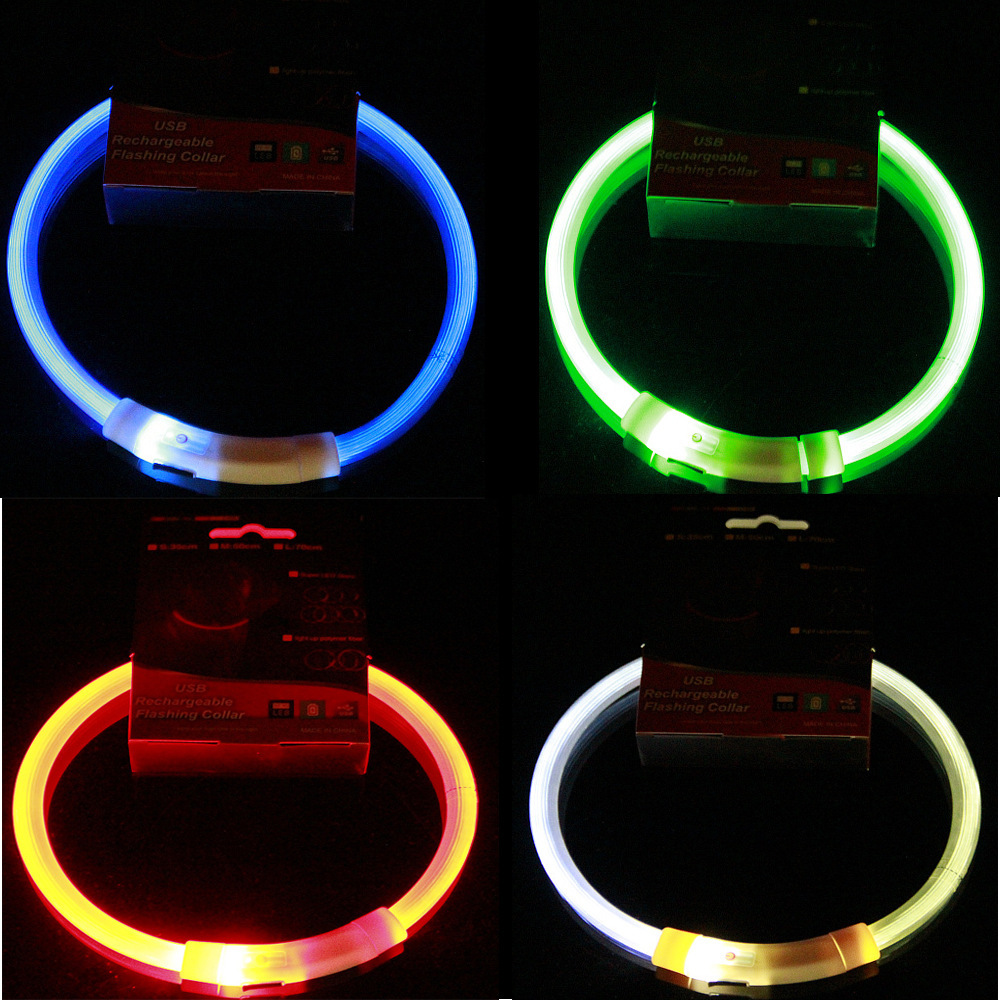 LED Pet Luminous Collar USB Charging Collar Teddy Night Light Bandana Medium-small Large Dog Cat Supplies