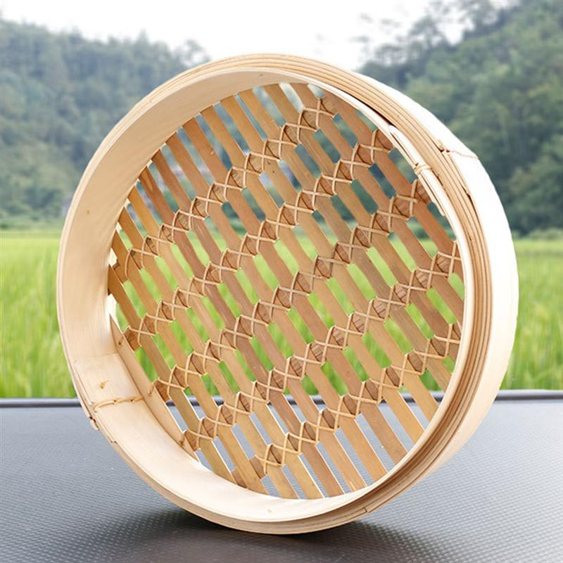 1pc Food Steamer Basket Chinese Traditional Bamboo Steamer Kitchen Bun Steamer Rack For Cooking Baking Without Steamer Cover