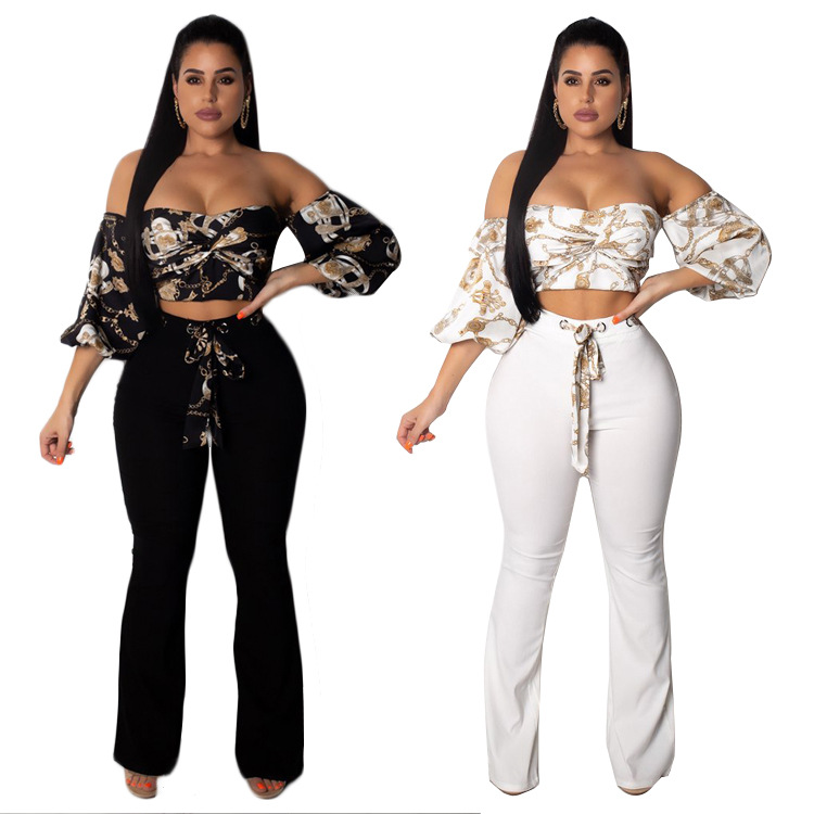 2019 Autumn And Winter European And American-Style Sports Set Zhigong Women's Wide-Leg Pants Two-Piece Set Large Amount Favorabl
