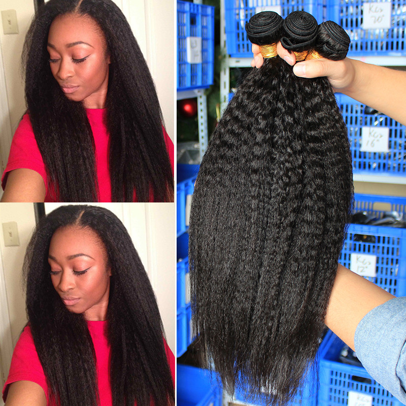 Dolago Hair Brazilian Closure Weave Bundles Coarse Yaki Kinky Straight 100%Human-Hair