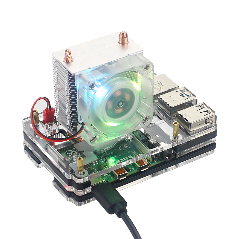 Raspberry Pi 4 Ice Tower Cooling Fan Super Heat Dissipation 7 Color Light Fan + Acrylic Case For Raspberry Pi 4B/3B+/3B
