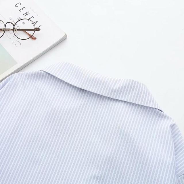 Grande taille rayure coton pulls col en V femmes chemises lâches 2020 nouveau printemps automne décontracté dames doux blouse femmes hauts