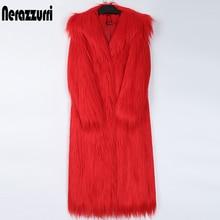 Nerazzurri winter red long faux fur coat women with hood long sleeve Hairy fluffy shaggy thick warm soft mongolian lamb fur coat