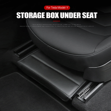 Подходит для Tesla модель Y под сиденьем коробка для хранения заднего сиденья из искусственной кожи интерьер увеличивают пространство автомо...