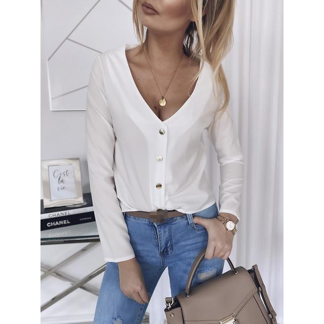 Women Slim Long Sleeve Tops And Blouses
