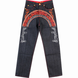 Image 4 - Sokotoo Mens hip hop jeans Cool personality embroidery loose pants Denim streetwear long trousers male