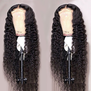 Image 2 - Brazilian Deep Wave Closure Wigs Pre plucked Lace Closure Human Hair Wigs For Black Women 150% Remy Deep Wave Lace Frontal Wigs
