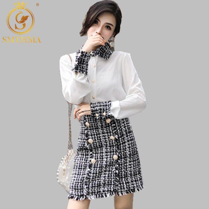 SMTHMA New Autumn And Winter Elegant Women 2 Piece Set Women Tweed Tassels Shirt Top + Double-Breasted Woolen Mini Skirt Suit