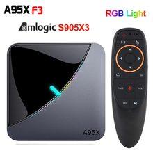 A95X F3 hava 8K Android 9.0 TV kutusu Amlogic S905X3 4K wifi 2GB 4GB 16GB 32GB 64GB RGB ışık akıllı TV kutusu A95X hava