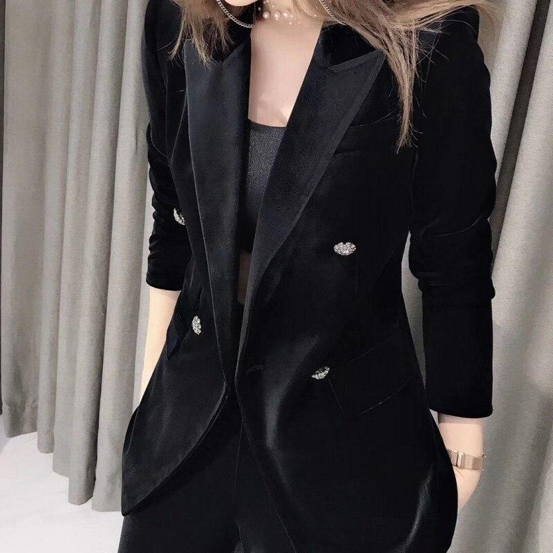 Spring Autumn Women Velvet Suit Jacket Blazer Office Ladies Outfits Elastic Waist Long Wide Leg Pants Suit Business Work Sets