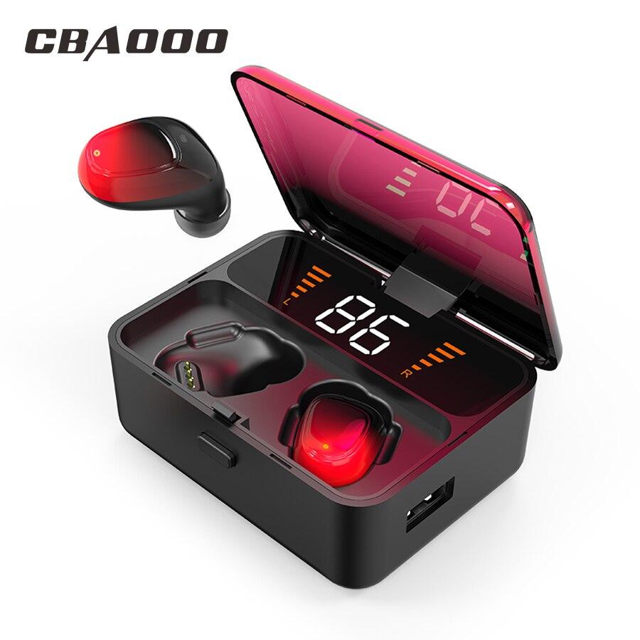 CBAOOO ES01 TWS 9D V5.0 Touch Fones de Ouvido Sem Fio Do Fone de Ouvido Bluetooth Estéreo Esporte fone de Ouvido handsfree display LED De Energia À Prova D' Água
