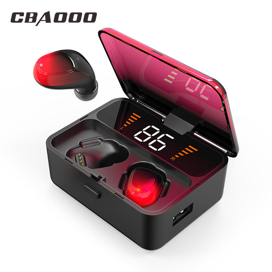 CBAOOO ES01 TWS Bluetooth Earphone V5.0 Touch Wireless Earbuds 9D Stereo Sport Waterproof Headset Handsfree LED Power Display