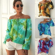 One-Shoulder Long-Sleeved Shirt Fashion European And American Style Sexy Charm Green Red Color Blue Khaki Four