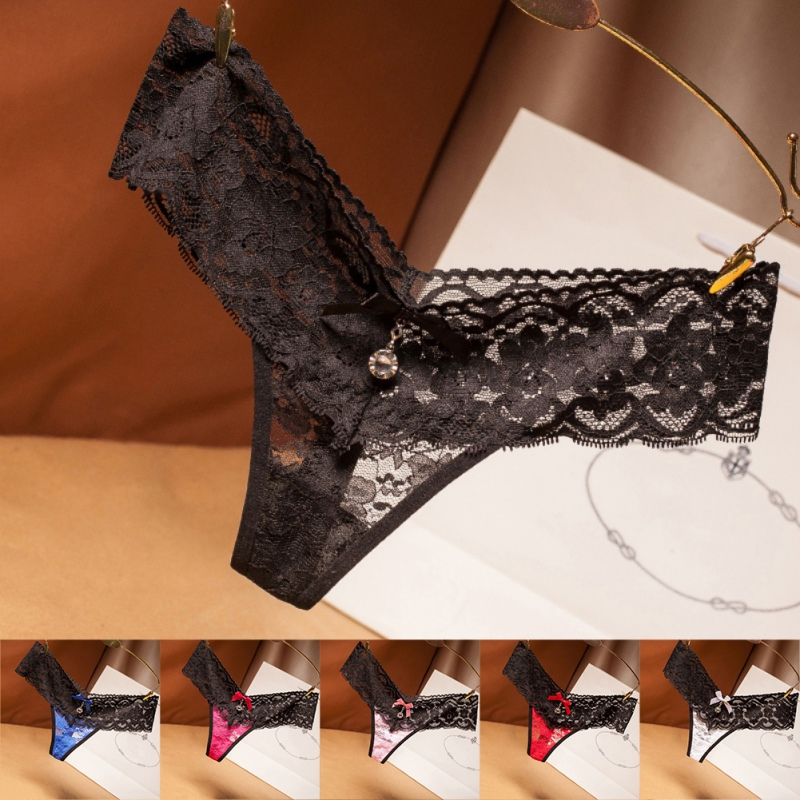 Flower Embroidery G-String Women Sexy Low Waist Intimate Temptation Panties Lace Bow Pendant Decorative Thong Lingerie