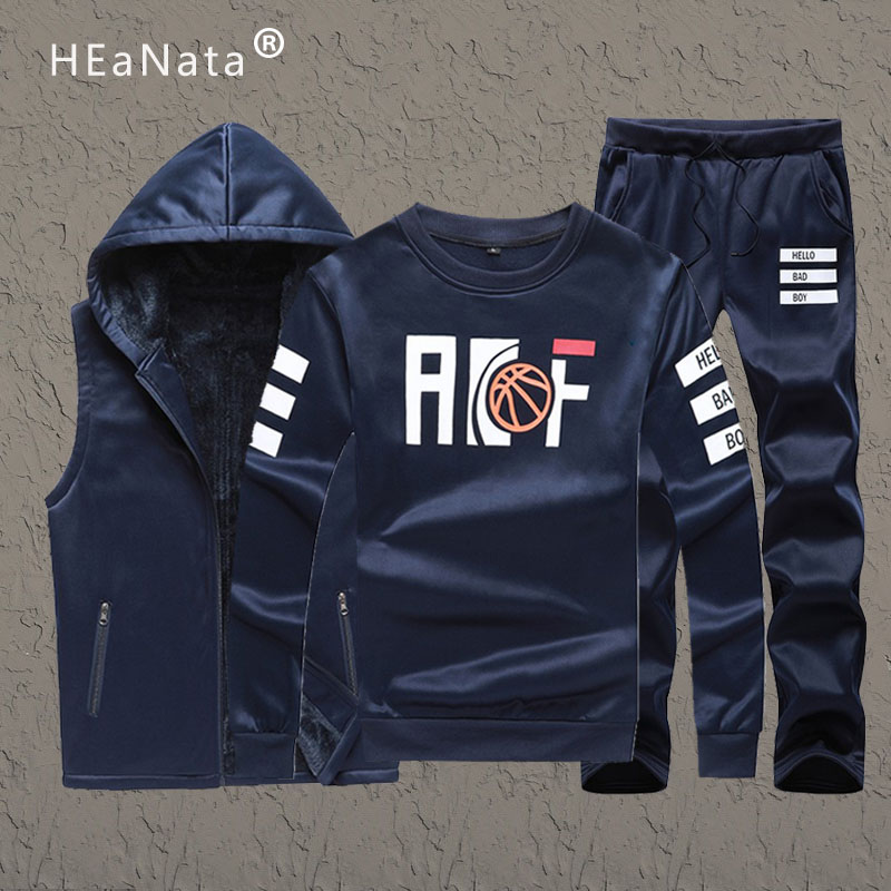 Three Pieces Men's Tracksuits Sets Fashion 2019 Winter Vest Hoodies Sweatpants Outfit Men Warm Gym Tracksuit Joggers Suit Sets