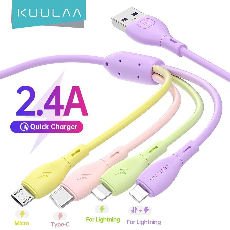 Kuulaa 4 em 1 carregador usb cabo para iphone usb tipo c micro cabo 2.4a carregamento rápido cabo de fio de dados para iphone 12 11 pro max xs