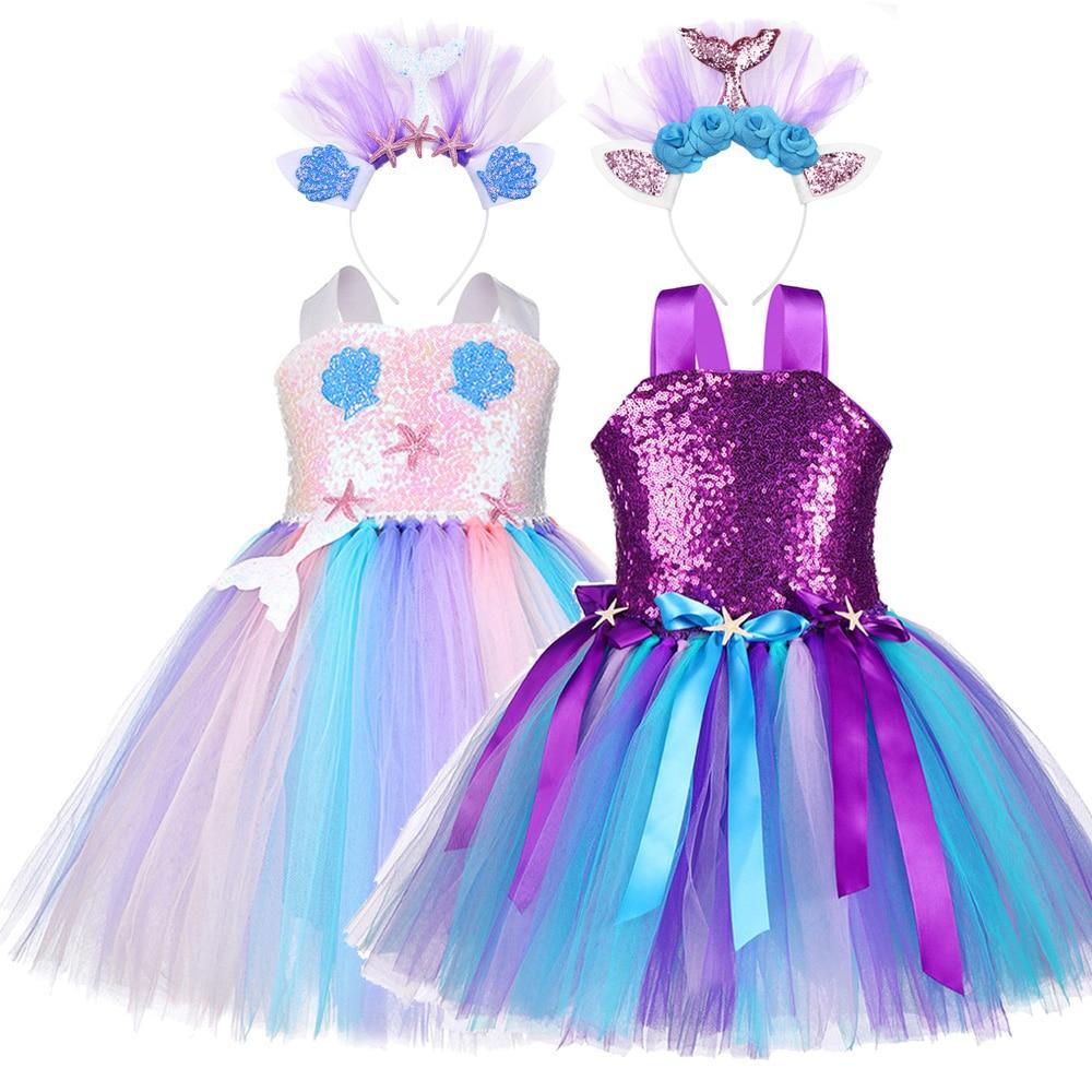 Kids Ariel Little Mermaid Set Girl Princess Dress Party Cosplay Costume IR