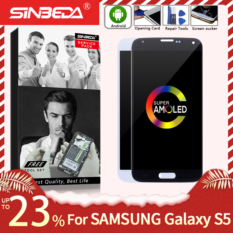 """5.1 """"amoled para samsung galaxy s5 g900f display lcd digitador da tela de toque para samsung s5 display g900m g900 lcd com queimadura sombra"""