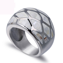 High quality shell finger ring fashion jewelry titanium steel rings  casting for women free shipping