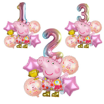 6PCS Peppa Pig Balloon Digital Balloon Set Birthday Balloon Party Decoration Family Children Birthday Balloon Gift