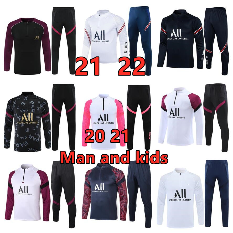 2021 22 Top  mens and kids soccer tracksuit kits training wear clothes custom man set Tracksuit 2020 21