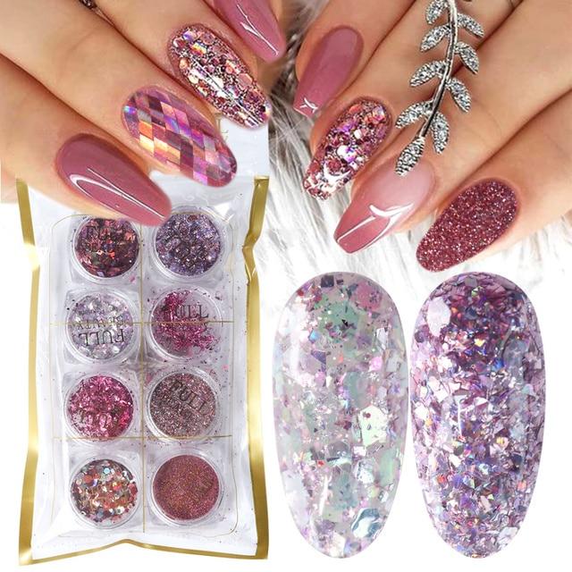 8 Box Mix Glitter Nail Art Powder Flakes Set Holographic Sequins for Manicure Polish Nail Decorations Shining Tips LA1506 05 2