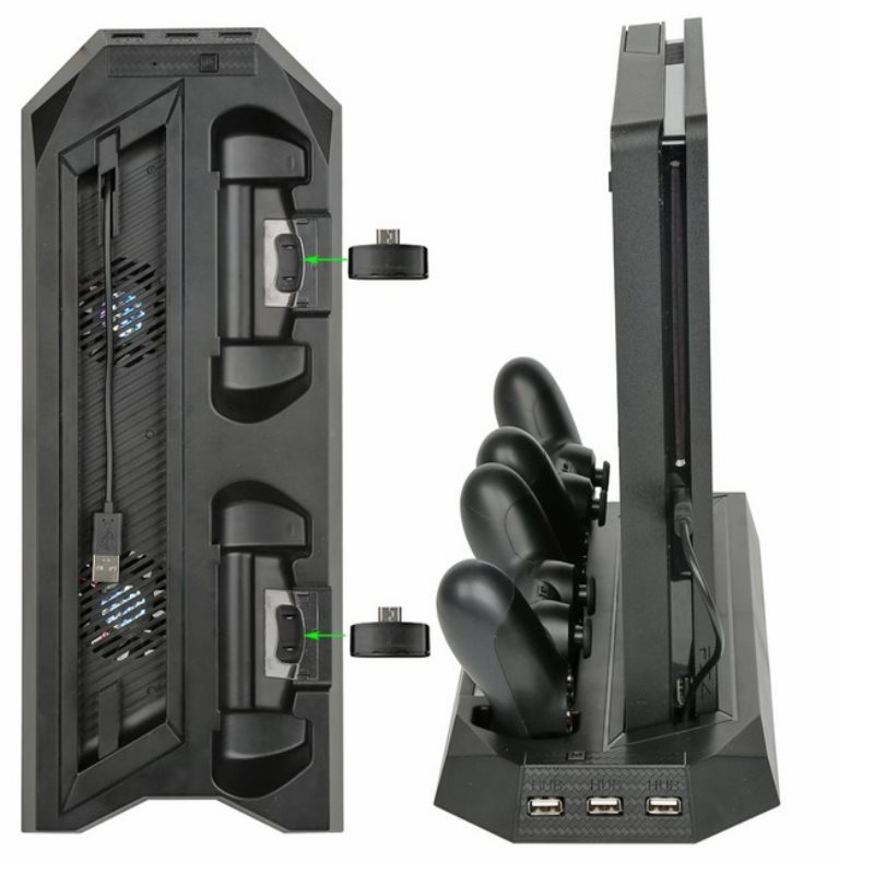 Vertical Cooling Stand with Fan & Dual Controller Charging Dock For PS4