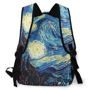 Image 4 - ブランドゴッホ旅行バックパック星空デイパック女性の子供のランドセルティーン少年少女学生のラップトップバッグ mochila アブラソコムツ