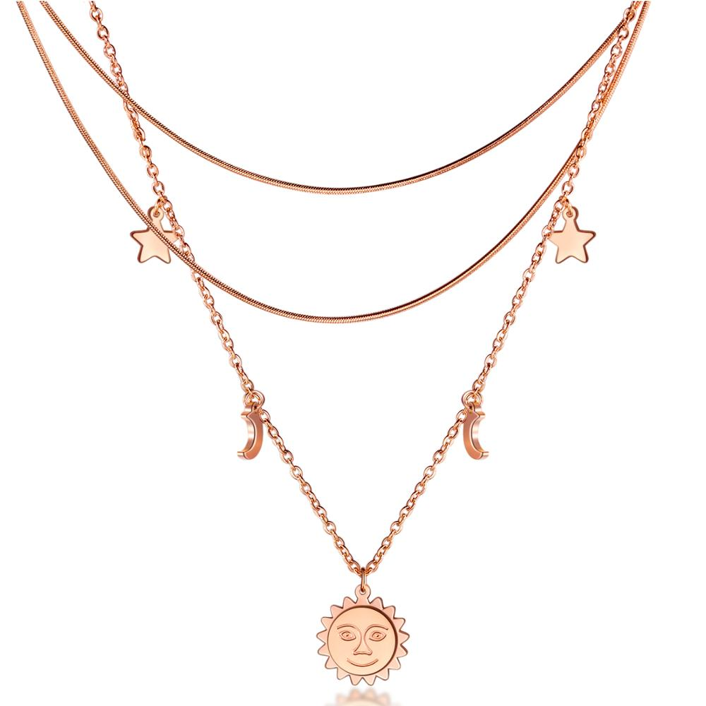 Rose Gold Stainless Steel Moon /& Star Pendant Chain Choker Necklace