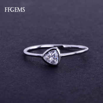FFGems Elegant Real 10K Gold Ring Sterling Moissanite 0.5Ct EF Color Fine Jewelry For Women Lady Engagement Wedding Party Gift image