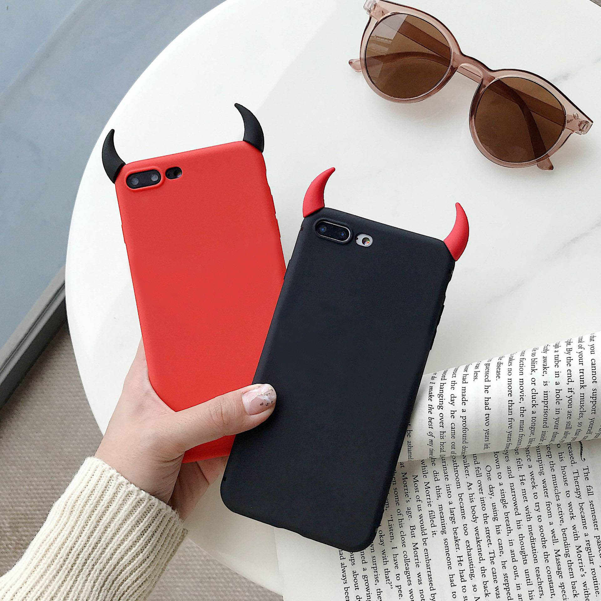 Para Samsung A7 2018 A8 A5 A9 2018 A7 M10 M20 M30 A50 A70 A40 A6Plus 2018 Telefone Cor Caso Doces TPU Macio Coque DIY Diabo Chifre