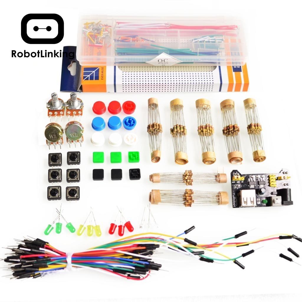 Комплект универсальных деталей для Arduino + модуль питания 3,3 В/5 В + макетная плата для MB-102 830 точек + 65 гибких кабелей + соединительный провод