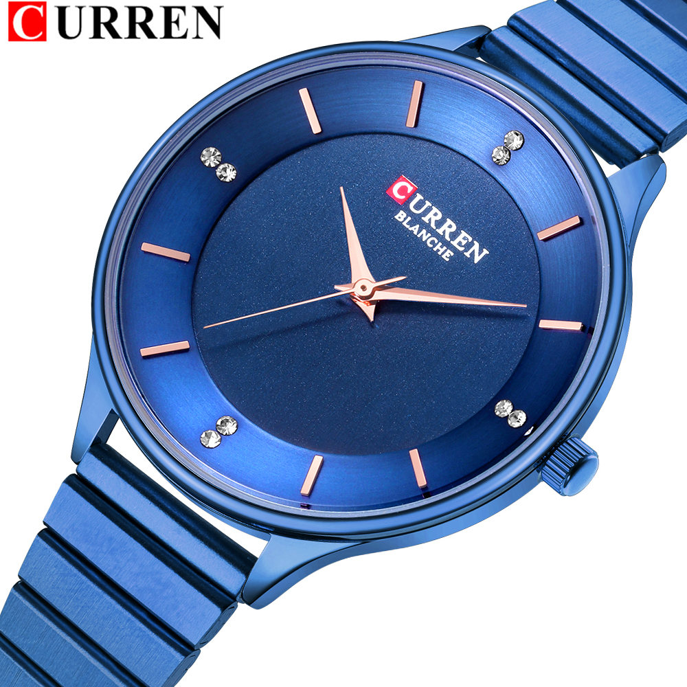 Elegant Women Watches CURREN New Quartz Stainless Steel Wrist Watch Ladies Fashion Diamond Femal Clock Relogio Feminino 9041