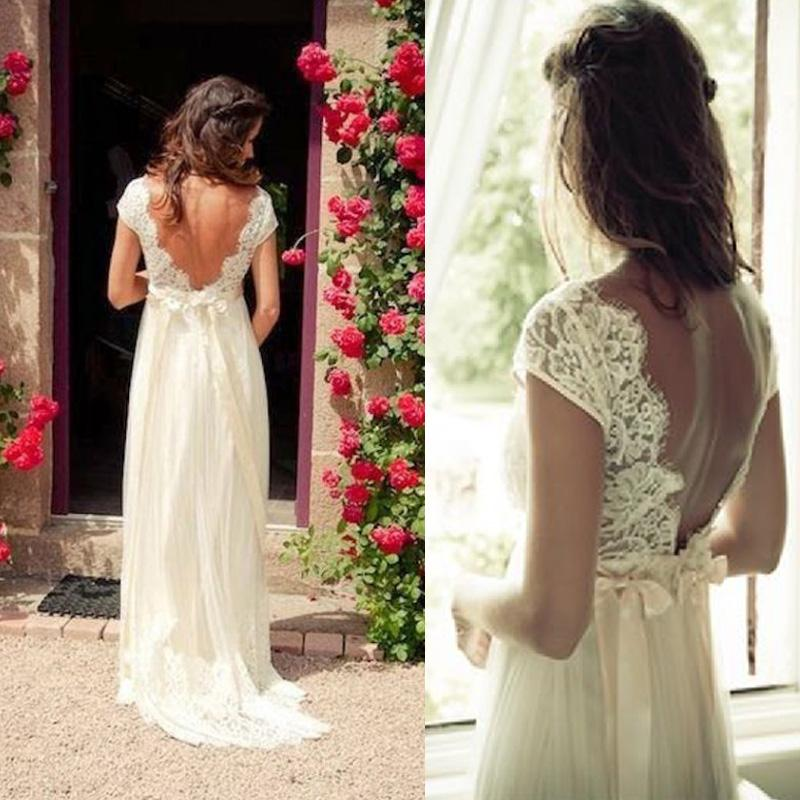 Vintage Bohemian Wedding Dress Beach A Line Backless Sheer Lace Cap Sleeves Bridal Gowns V Neck Beaded Sash Country Brides Gown