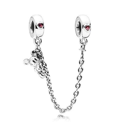 Silver Color Minnie Mickey Safety Chain Crown Boy Pendant Fit Pandora Charm Bracelet DIY Women Original Bead Jewelry