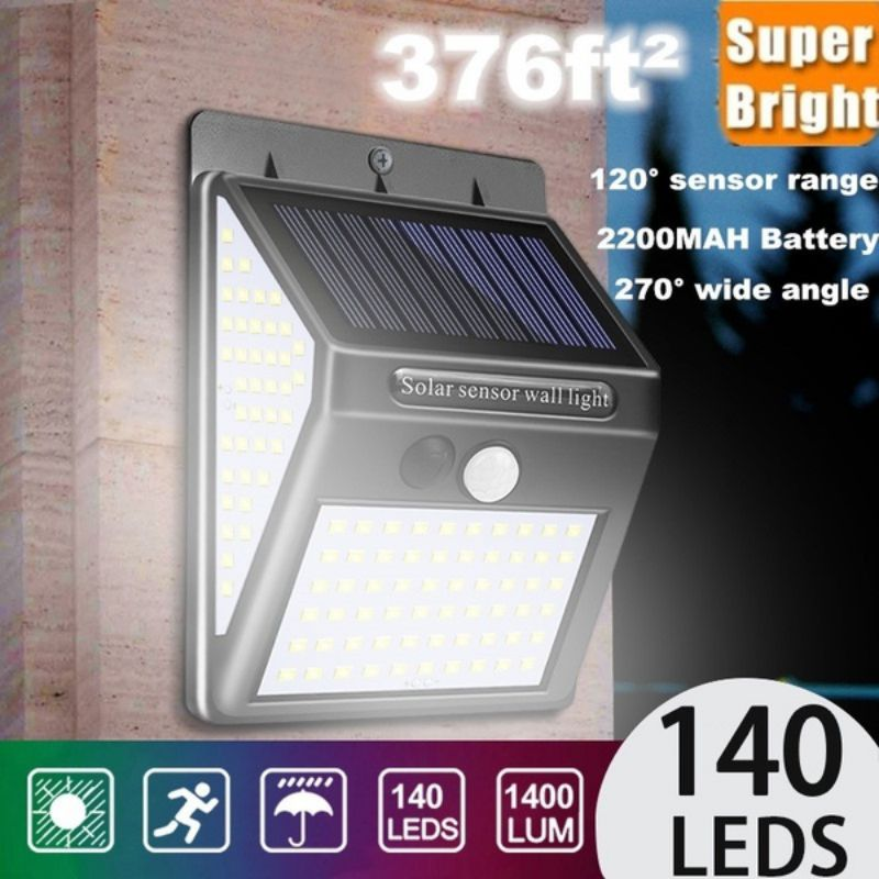 140 LED Solar Wall Light Ultra Bright Motion Sensor Solar Security Light IP65 Waterproof Wireless For Courtyards Easy To Install