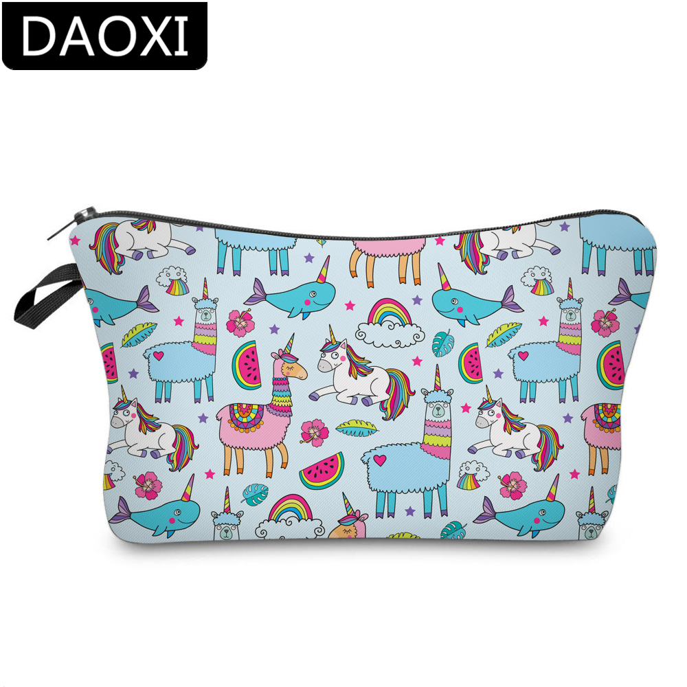DAOXI 3D Printing Whale Cosmetic Bags Waterproof Unicorn Makeup Bag Llama Toiletry Organizer Portable DX51468