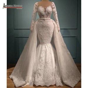 Image 1 - Vestido de casamento com renda sereia, saia destacável 2 em 1 vestidos de casamento