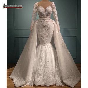 Image 1 - Yeni mermaid dantel düğün elbisesi ayrılabilir etek ile 2 in 1 düğün elbisesi es