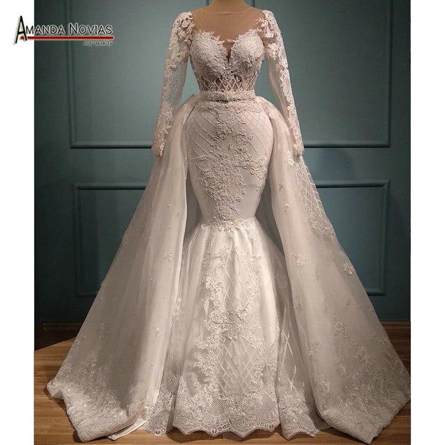Yeni mermaid dantel düğün elbisesi ayrılabilir etek ile 2 in 1 düğün elbisesi es