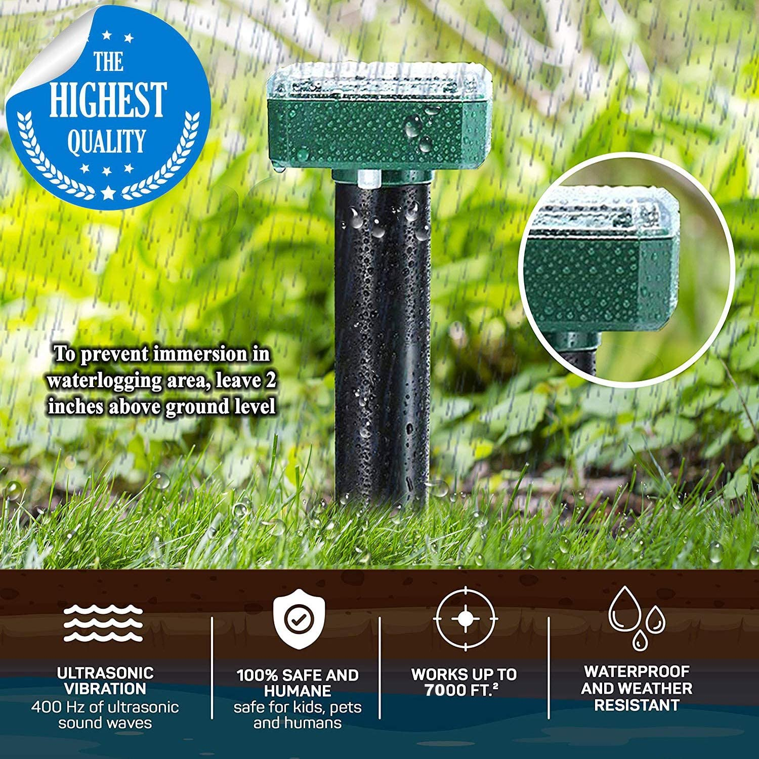 AMKOY 4 Pack Mole Repellent Mole Chaser Spikes Solar Mole Repeller Groundhog Deterrent Gopher Chaser Vole Away