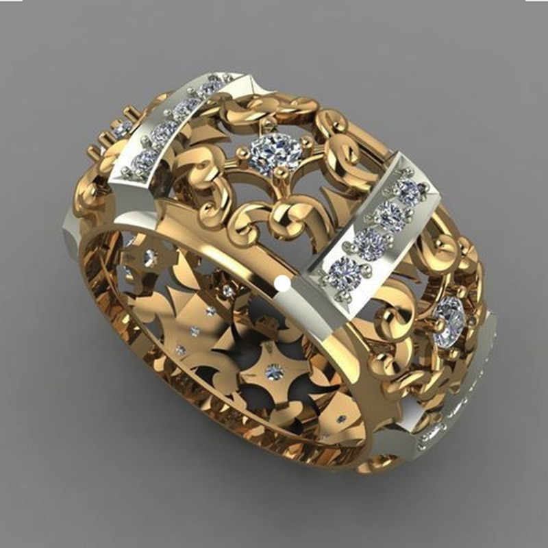 2019 สไตล์ที่ไม่ซ้ำกันคริสตัล Zircon หญิงแหวนหินสีเหลืองทองงานแต่งงานเครื่องประดับสัญญารักหมั้นแหวน