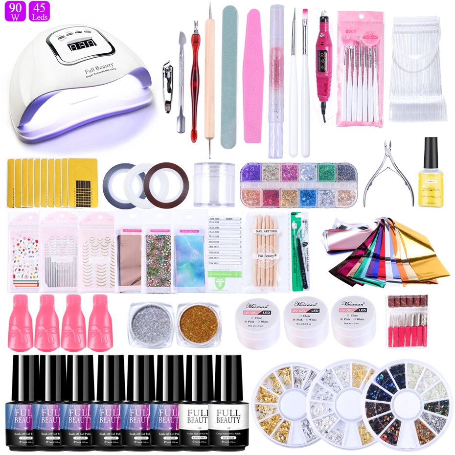 Nail Set UV LED Lamp Dryer Colors Foil Sticker For Nails Gel Polish Nail Art Varnish Electric Drill Manicure Tools Kit BE1582-1