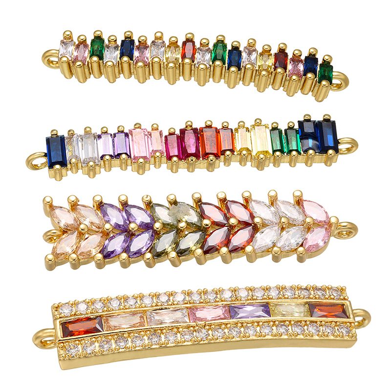 ZHUKOU Exquisite Rainbow Crystal Connector For Women Necklace Bracelet Handmade Jewelry Accessories Making Findings Model:VS429