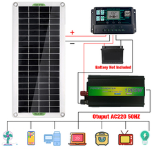 220V Solar Power System 30W Solar Panel Battery Charger 220/1000W Inverter USB Kit Complete Controller Home Grid Camp Phone PAD