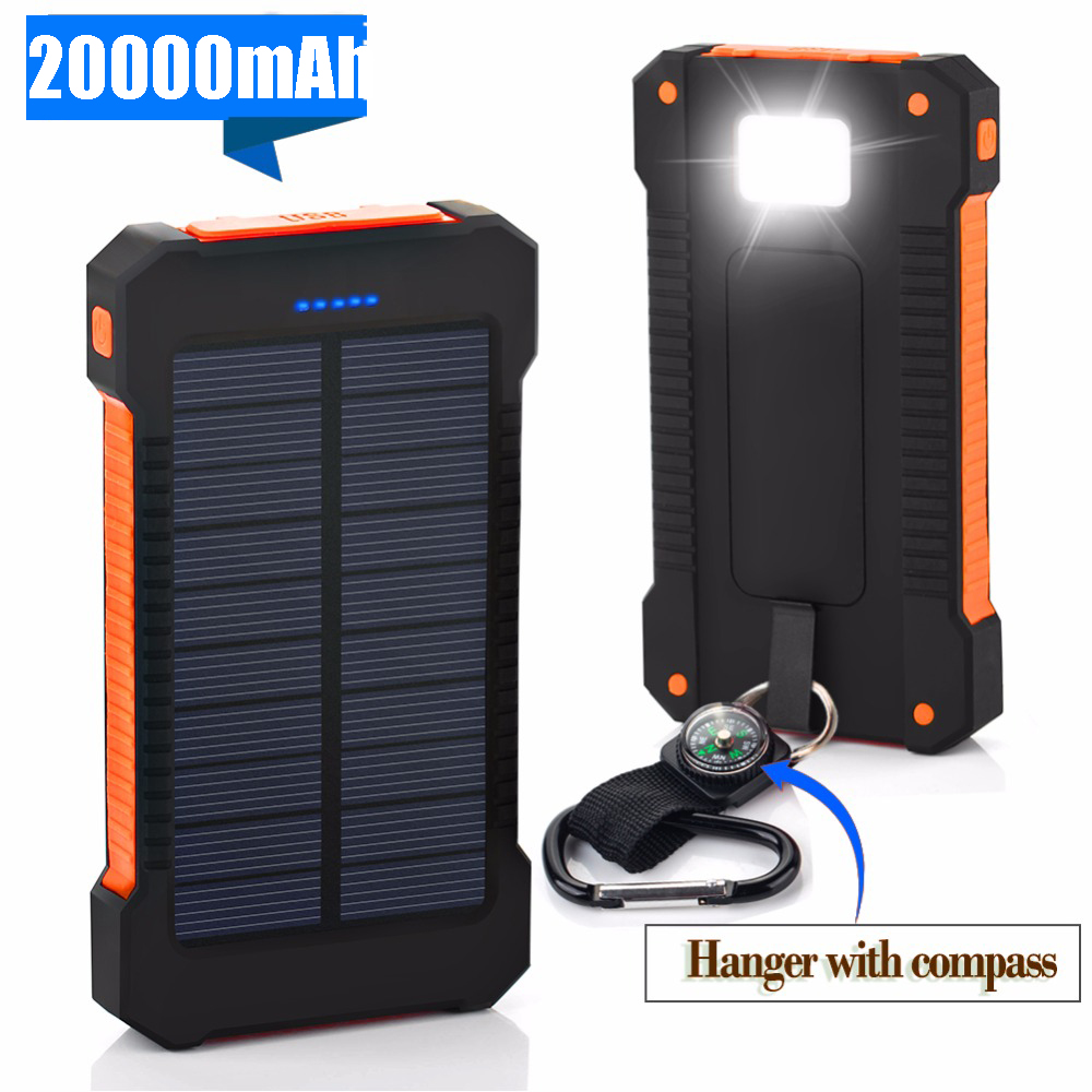 For XIAOMI <font><b>power</b></font> <font><b>bank</b></font> 20000 mah Portable <font><b>Solar</b></font> <font><b>Power</b></font> <font><b>Bank</b></font> <font><b>20000mAh</b></font> <font><b>External</b></font> <font><b>Battery</b></font> DUAL Ports powerbank Charger Mobile Charger image