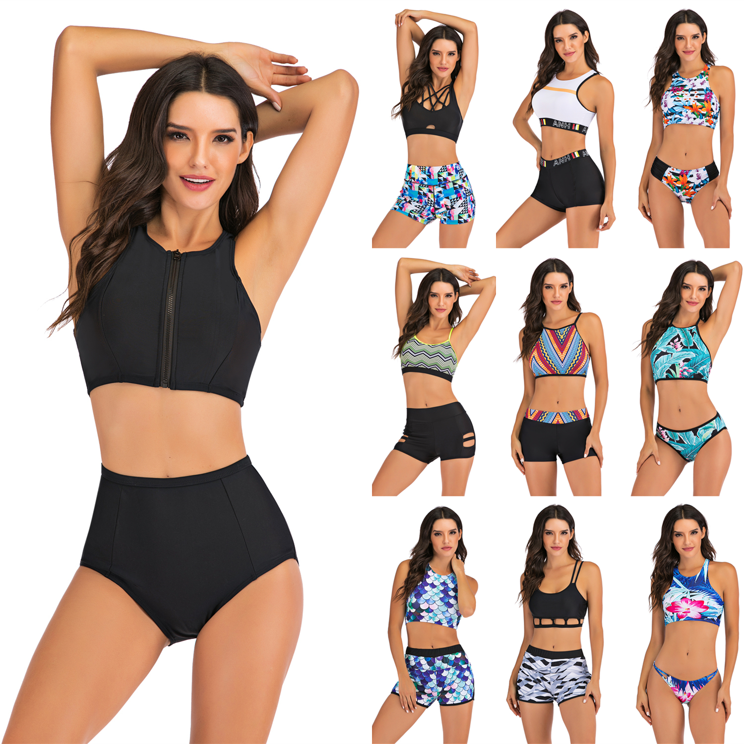 New Plus Size Bikini Women Swimsuit Two Pieces Tankini Push Up Bathing Suit Tankinis With Shorts Mujer Womens Swim Suits Trunk