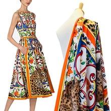 Tiger printed polyester fabric cloth 146 cm width fashion women's shirt dress children's clothing handmade DIY fabric
