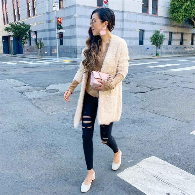 New Autumn Ladies Women Long Sleeve Solid Color Warm Plush Outerwear Coat Wool & Blends Khaki/Black/White/Dark Gray