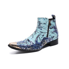 Christia Bella Designer Patchwork Men Ankle Boots Blue Party Genuine Leather Men